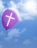 Cross on purple balloon stock illustration