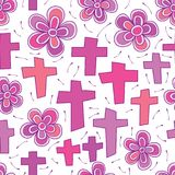 Cross purple color sprit flower seamless pattern. This illustration is abstract funeral party with spirit enjoy with flower and aroma peace in mind in white Royalty Free Stock Images