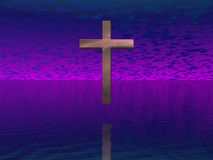 Cross in purple sky Stock Photo
