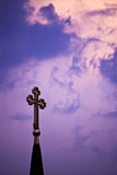 Cross on purple sky Royalty Free Stock Photo