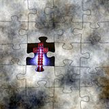 Cross and puzzle concept Stock Images