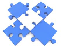 Cross of puzzle pieces in blue and white colors Stock Photo