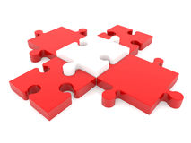 Cross of puzzle pieces in white and red colors Stock Photos