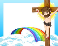 A cross, a rainbow and an empty template Royalty Free Stock Photo
