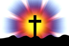 Cross in a rays. A glowing cross in a rays background Royalty Free Stock Image