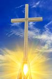 Cross in a rays of sun. Christian cross in a rays of sun stock image