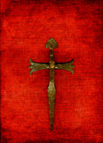 Cross on red Stock Photos
