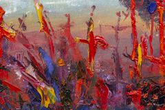 Cross in red blood, fear, execution, death, murder, anxiety. Oil Painting palette knife - Cross in red blood, fear, execution, death, murder, anxiety - modern stock illustration