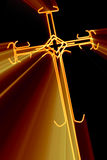 Cross with red  rays Stock Photography
