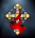 Cross with a red ribbon Stock Image