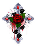 Cross with a red rose. Silver cross with a red rose and black leaves on a white background Stock Image