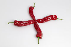 Cross of red sweet pepper Royalty Free Stock Images