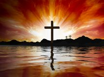 Cross reflecting in lake stock images