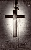 Cross religion white background. Worn and damaged by rain and weather cross religion on a white background royalty free stock photo