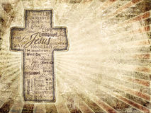 Cross With Religious Words on grunge background. Stock Photography