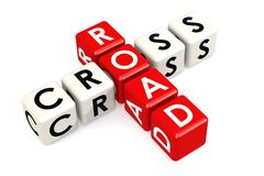 Cross road buzzword in red and white Royalty Free Stock Photo