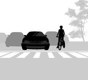Cross road and cyclist scene Stock Photography