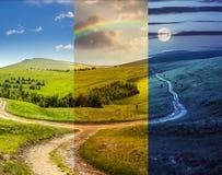 Cross road on hillside meadow in mountain Stock Photography