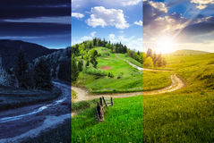 Cross road on hillside meadow in mountain Royalty Free Stock Image