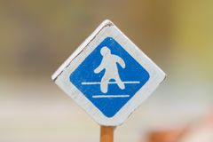 Cross road sign - Traffic sigh toy, Play set Educational. Toys for preschool indoor playgroundselective focus Stock Photo