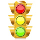 Cross road traffic lights isolated on white Stock Image