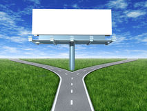 Cross roads with billboard Stock Image