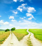 Cross roads. Horizon with grass and blue sky