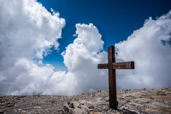 Cross on Rock during Daytime Royalty Free Stock Image