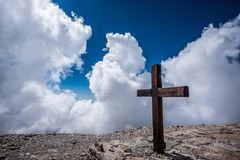 Cross on Rock during Daytime Royalty Free Stock Photo
