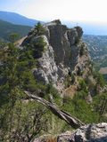 Cross on the rock, hills, Crimea Stock Images