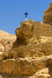 Cross on the rock, long way to go, Wadi Qelt, Judean Desert. Israel Stock Photography