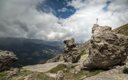 Cross in rock near Lac De Nino in Corsica Royalty Free Stock Images