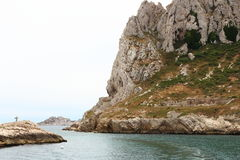 Cross upon the rocks along french calangues coast, Marseille Stock Images