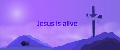 Easter background - Jesus is alive. Cross on rocks with shroud, empty tomb and text : Jesus is alive Stock Photography