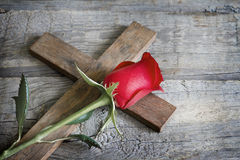 Cross and rose religion sign abstract concept Stock Image