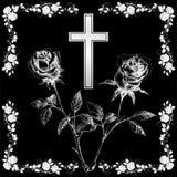Cross with rose 2 stock photos