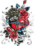 Cross rose tattoo Royalty Free Stock Photo