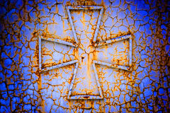 Cross on a rust metall Stock Photo