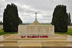Cross of Sacrifice; Tyne Cot Cemetery. The Cross of Sacrifice Monument, reading: Their Names Liveth For Evermore; with six Poppy wreaths Stock Images