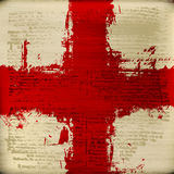 Cross of Saint George. Blood Red Cross over grunged blurred antique text texture background Royalty Free Stock Photos