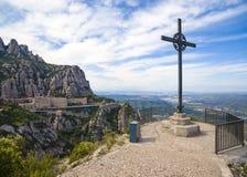 Cross of Saint Michael. Near Santa Maria de Montserrat Abbey Royalty Free Stock Images