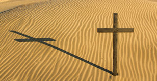 Cross Sand Shadow Royalty Free Stock Photos
