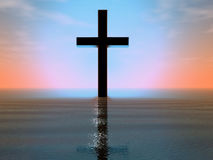 Cross in the sea. 3-d render of the magic cross Stock Photo