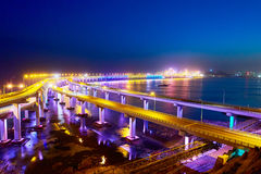 The cross sea bridge nocturne. The photo was taken in Xinghai bay Dalian city Liaoning province, China Royalty Free Stock Images