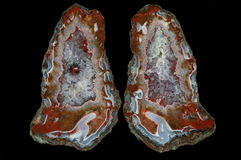 A cross section of the agate stone with quartz geode. Stock Photo