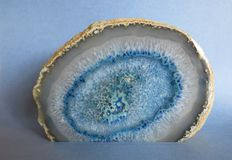 Cross-section of a blue agate Royalty Free Stock Images