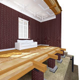 Cross section of brick house Royalty Free Stock Image