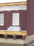 Cross section of brick house Royalty Free Stock Images