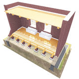 Cross section of brick house Stock Image
