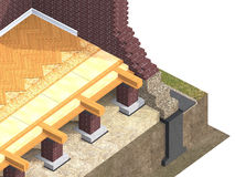 Cross section of brick house Stock Photography